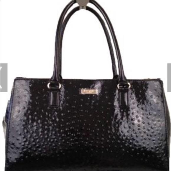 kate spade Handbags - Kate Spade black patent faux ostrich handbag
